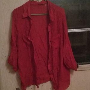 Red mesh button up shirt